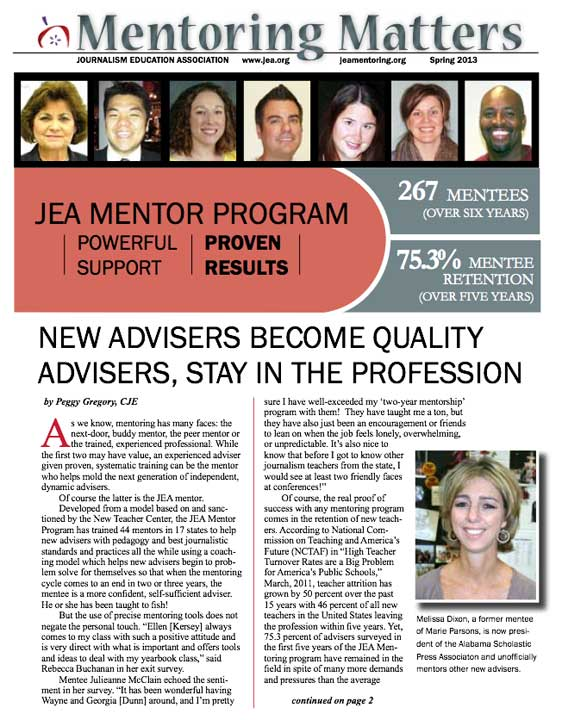 Mentoring Matters Newsletter - high school journalism advising