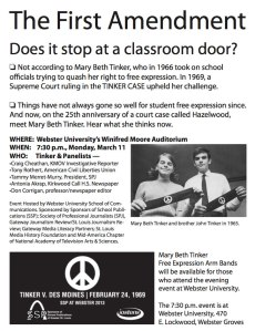 Mary Beth Tinker - flyer from First Amendment pep rally