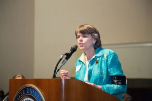 Mary Beth Tinker spoke to high school journalism students and community members at a journalism conference held at Webster University in St. Louis. Photo by Rebecca Barr, Tu Square Studio