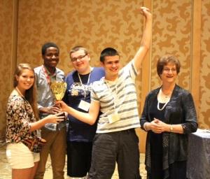 Quiz Bowl winners with Marilyn Chapman
